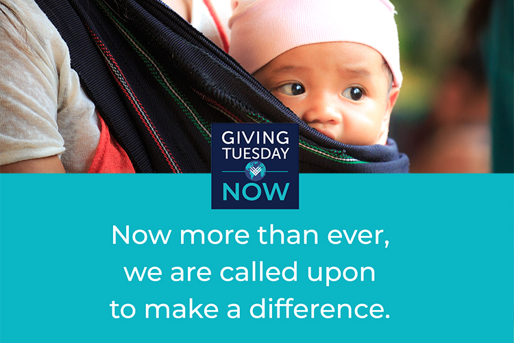 Baby in wrap with #GivingTuesdayNow logo and text Now more than ever, we are called upon to make a difference.