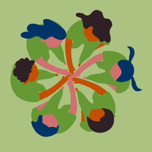 Graphic of girls huddled up with their hands in the center.
